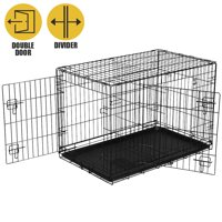 """Vibrant Life Double Door Folding Dog Training Kennel with Divider, Large, 42"""""""