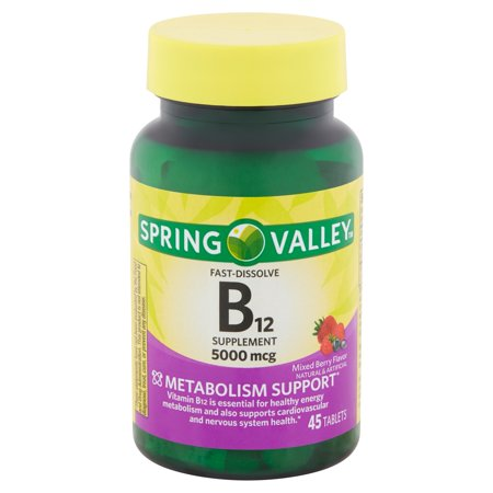 Spring Valley Fast-Dissolve B12 Supplement Tablets, 5000 mcg, 45 (Best Country Life B Vitamins)