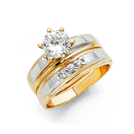 FB Jewels 14K White and Yellow Gold Two Tone Cubic Zirconia CZ Wedding Band and Engagement Bridal Ring Two Piece Set Size 5.5](Jewel Tone Wedding)