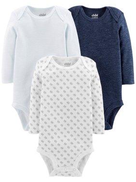 Basic Long Sleeve Bodysuits, 3-pack (Baby Boys)