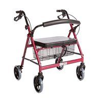 Heavy Duty Bariatric Rollator Walker With Seat and Wheels, 4 Wheel Walker With Large Seat and Basket and Brakes, Medical Heavy Duty Walker With Seat for Seniors, 8 Inch Wheels, 400 Lbs, Red