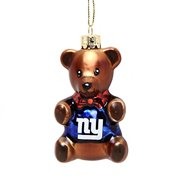 "New York Giants 3.5"" Blown Glass Teddy Bear Ornament"
