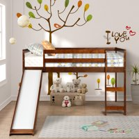 Harper&Bright Designs Wood Twin Loft Bed with a Slide for Your Children, Walnut
