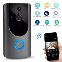Wireless Smart Wifi Doorbell Home Security Bell Camera, Real-Time Video and Two-Way Talk Night Vision PIR Motion Detection