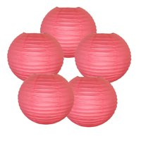 "Just Artifacts 10"" Hot Pink Paper Lanterns (Set of 5) - Decorative Round Paper Lanterns for Birthday Parties, Weddings, Baby Showers, and Life Celebrations"