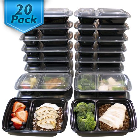 [20 Pack] Misc Home 32 Oz. 2 Compartment Meal Prep Containers BPA Free Reusable Food Storage Containers Microwave & Dishwasher Safe For Portion Control & Bento Box Lunch Box