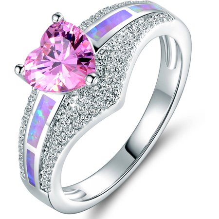 Pink Opal and CZ 18kt White Gold Heart Ring