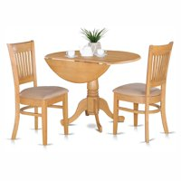East West Furniture Dublin 3 Piece Drop Leaf Dining Table Set with Vancouver Microfiber Seat Chairs