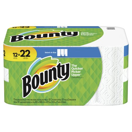 Bounty Perforated Paper Towel Roll (Bounty Select-A-Size Paper Towels, White, 12 Super Rolls = 22 Regular Rolls)