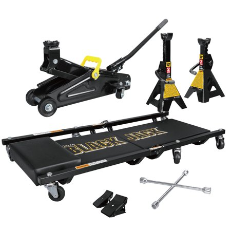 2 Ton Blackjack Jack Combo Kit with Trolley Jack, 1 Pair of Jack Stands, Folding Creeper, Lug Wrench, and 1 Pair of Anti-Skid Chocks ()