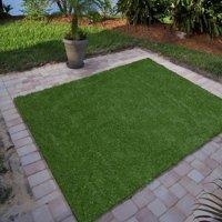 "Ottomanson Garden Grass Collection Indoor/Outdoor Artificial Solid Grass Design Area Rug, 3'3"" X 5', Green Turf"