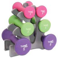 "Tone Fitness 20lb Hourglass Neoprene Dumbbell Set with ""A"" Frame Rack"