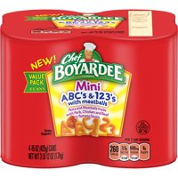 (6 Pack) Chef Boyardee Mini ABC's and 123's with Meatballs, 15 oz, 4 Pack