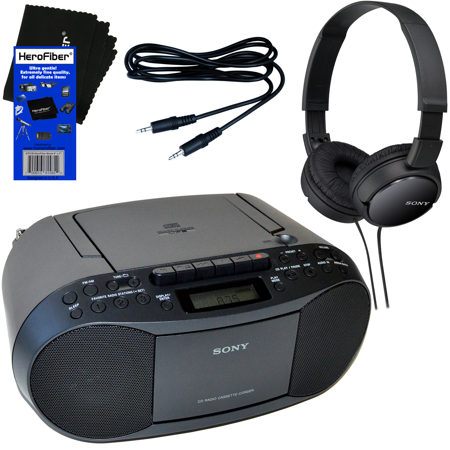 Sony Portable CD Player Boombox with AM/FM Radio \u0026 Cassette Tape + Players