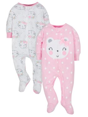 Organic Cotton Jersey Sleep N' Plays, 2pk (Baby Girl)