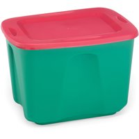 Homz 18 gal Holiday Storage Tote, Red/Green, set of 8