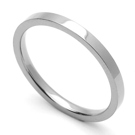 - Women's 2MM Comfort Fit Stainless Steel Wedding Band Classic Flat Ring (Size 1 to 12)