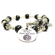 Chubby Chico Charms I Love You To The Moon And Back Celestial Cat's Eye Wrap Charm Bracelet in Black
