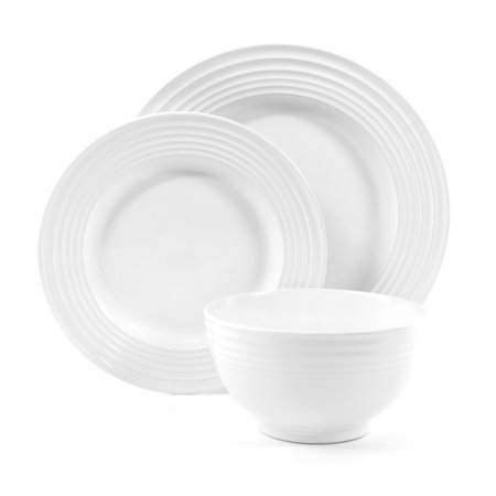 Plaza Cafe 12 pc Dinnerware Set - White - Solid Color - Stoneware