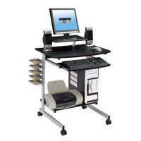 Techni Mobili Rolling Compact Computer Cart Desk With Storage, Graphite (RTA-2018-GPH06)