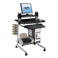 Techni Mobili Rolling Compact Computer Cart Desk With Storage, Graphite (RTA-2018-GPH06)