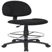 Boss Office & Home Transitional Black Contoured Comfort Adjustable Rolling Drafting Stool Chair
