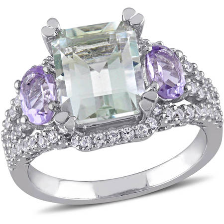French Ring Sport (Tangelo 4-5/8 Carat T.G.W. Green Amethyst, Rose de France and White Sapphire Sterling Silver Three Stone Cocktail)