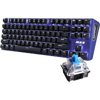 MXX Mechanical Gaming Keyboard - 87 Keys,White Backlit, Blue Switches, Blue Aluminum Cover, N-Key Rollover