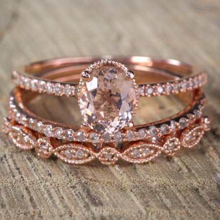 Sale 2 carat Antique Milgrain Oval Shape Morganite & Diamond Trio Ring Set in 10k Rose Gold with One Halo Engagement Ring 2 Wedding Bands (Milgrain Anniversary Band)