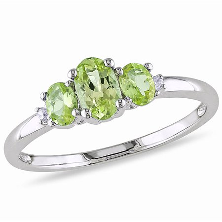 - Tangelo 4/5 Carat T.G.W. Peridot and Diamond-Accent 10kt White Gold Three-Stone Ring