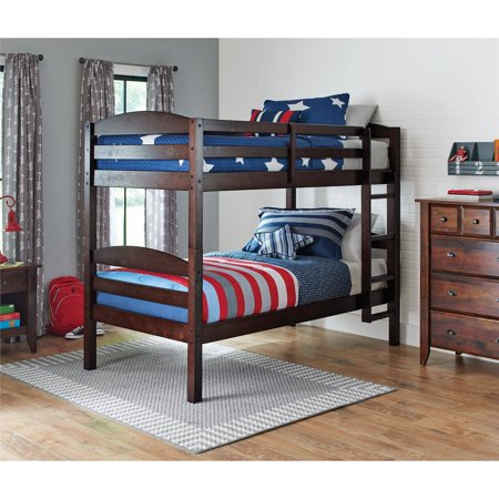 Better Homes and Gardens Leighton Twin Over Twin Wood Bunk Bed, Multiple (Bunk Beds Full Bottom)