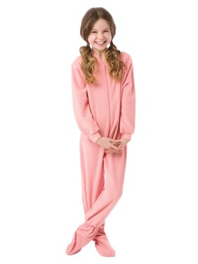 bcab3a19b4a Product Image Big Feet Pjs Big Girls Kids Pink Fleece Footed Pajamas One  Piece Sleeper Footie Pajamas
