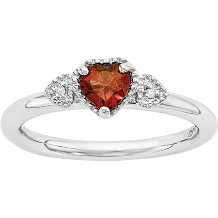 Garnet and Diamond Sterling Silver Hearts Ring