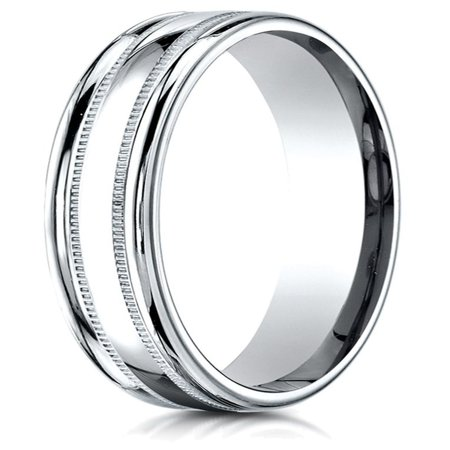 Carved Out Polished Finish - 14k Gold 4mm Comfort-fit High Polished Finish with a Round Edge and Milgrain Carved Design Band