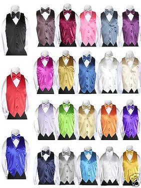 2pc Set Satin Vest Bow Tie Baby Toddler Kids Teen Formal Boys Suits 23 Color S-7