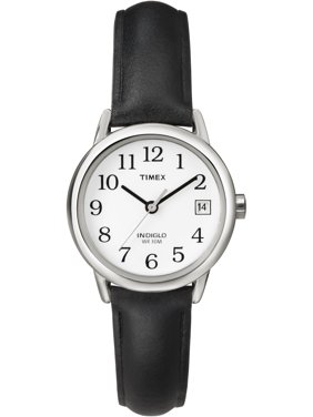 Women's Easy Reader Watch, Black Leather Strap