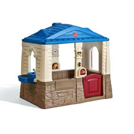 Step2 Neat and Tidy Cottage Blue Playhouse, for (Wooden Outdoor Playhouse Kit)