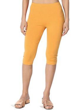TheMogan Women's S~3X Basic Stretch Cotton Span Below Knee Length Capri Leggings
