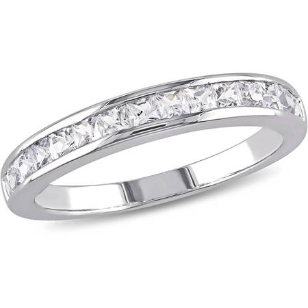 3/4 Carat T.G.W. Created White Sapphire Sterling Silver Anniversary (Sterling Silver Engagement Anniversary Ring)