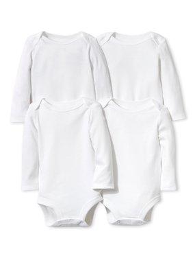 White Long Sleeve Bodysuits, 4pk (Baby Boys or Baby Girls Unisex)