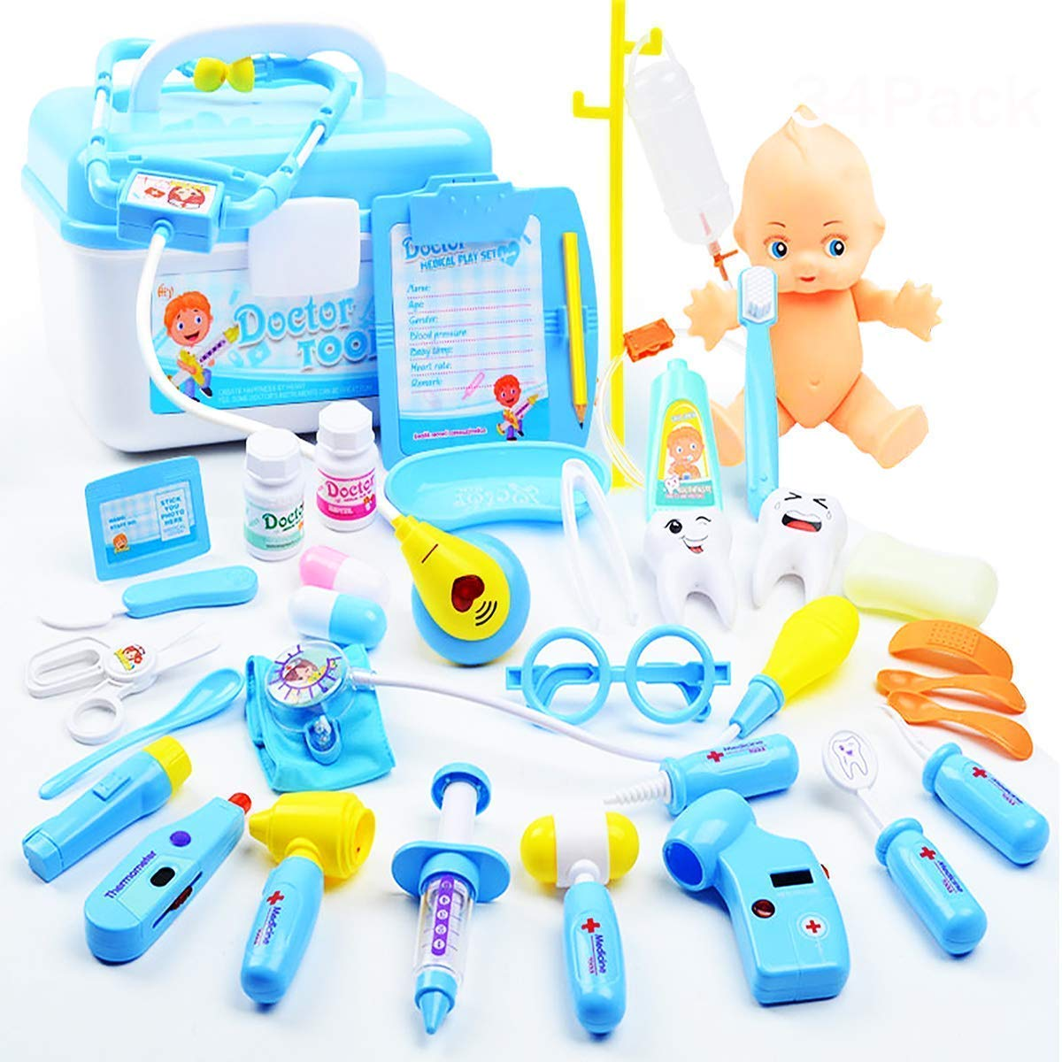 Kids Doctor Set   34 Pieces Role Play Nurse Medical Box Kit with Electronic Stethoscope \u0026 Toys for Boys\u0027 3-6 Years