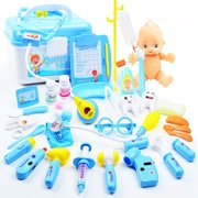 65fd9f910 Kids Doctor Set | 34 Pieces Role Play Nurse Medical Box Kit with Electronic  Stethoscope &