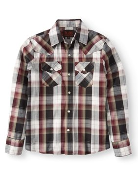 Boys' Long Sleeve Plaid Western Shirt