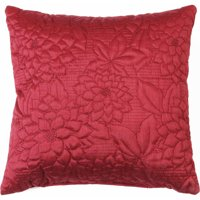 "Belle Maison Gardenia Embroidered Quilted Decorative Throw Pillow, 16"" x 16"", Burgundy"