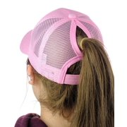 afc79999266 PONYTAIL BASEBALL HAT PINK PONYCAP ADJUSTABLE TRUCKER MESSY HIGH BUN MESH  CAP WOMENS PONY TAIL SLOT