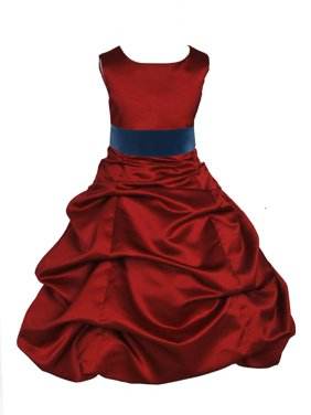 Ekidsbridal Formal Satin Apple Red Flower Girl Dress Christmas Bridesmaid Wedding Pageant Toddler Recital Easter Holiday Communion Birthday Baptism Occasions 2 4 6 8 10 12 14 16 806s Gold size 16