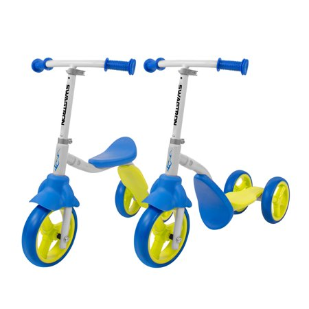 K2 Toddler 3 Wheel Scooter & Ride-On Balance Trike 2-in-1 Adjustable for 2, 3, 4, 5 Year Old Kids Boy or Girl Transforms In
