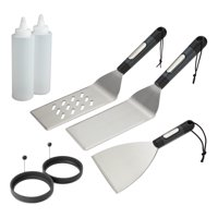 Cuisinart 7 Piece Griddle Set - Includes 2 Multi-Functional Spatulas, 2 Squirt Bottles, 2 Silicone Egg Rings, a Griddle Scraper
