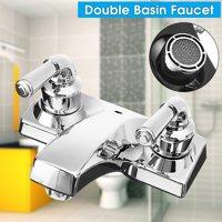 Double Handle Basin Spout Sink Bathroom Faucet 2 Hole Kitchen Cold Hot Mixer Tap
