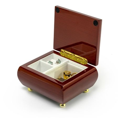 - Alluring Hi Gloss Rosewood Simple Design Music Jewelry Box - America the Beautiful
